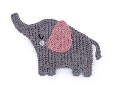 Häkelapplikation/Aufnäher 65 x 85 mm - Elefant - grau/rosa