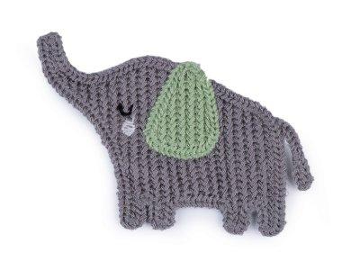 Häkelapplikation/Aufnäher 65 x 85 mm - Elefant - grau/grün