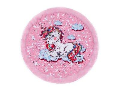 Applikation mit Wendepailletten Einhorn und Smiley  ca. 9 cm - helles rosa