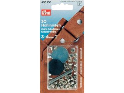 Prym 20 Hohlnieten 7,5mm 3-4mm Klemmber