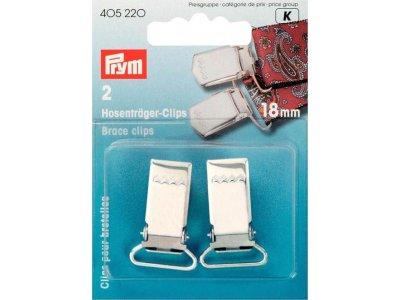Prym 2 Hosenträger-Clips 18mm - silberfarben