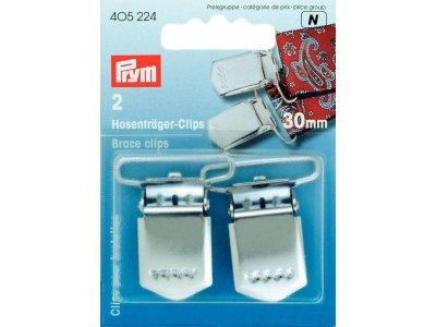 Prym 2 Hosenträger-Clips 30mm - silberfarben