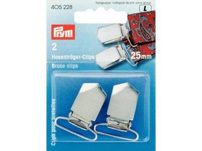 Prym 2 Hosenträger-Clips 25mm - silberfarben