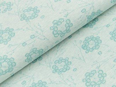 Jersey Organic Cotton - Pusteblumen und Zweige - meliert mint