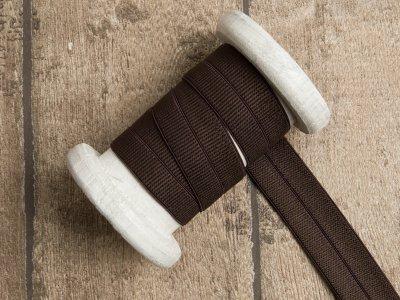 Elastisches Einfassband/Falzgummi - uni dunkles braun
