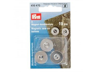 Magnet-Annähknöpfe Prym 3Stk/19mm - silber