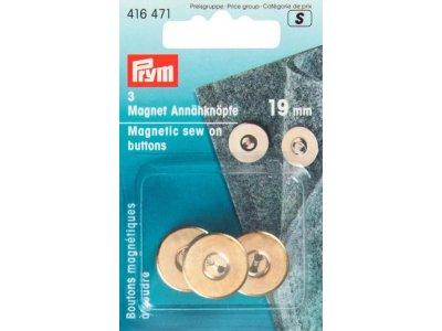 Prym 3 Magnet-Annähknöpfe 19 mm - goldfarben