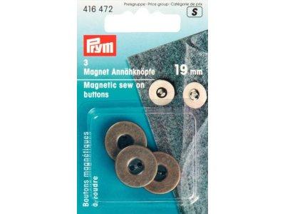 Prym 3 Magnet-Annähknöpfe 19 mm - altgoldfarben