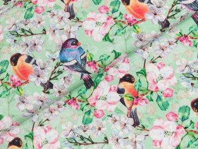 Jersey Digitalprint - Kirschblüten und Vögel - mint