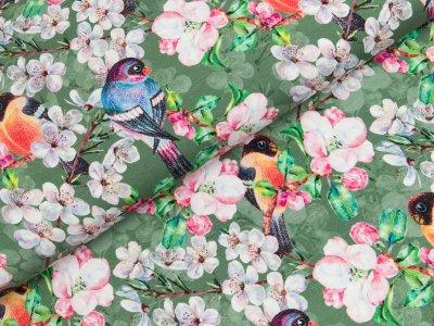 Jersey Digitalprint - Kirschblüten und Vögel - grün