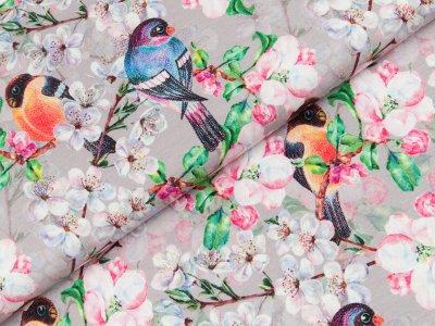 Jersey Digitalprint - Kirschblüten und Vögel - grau