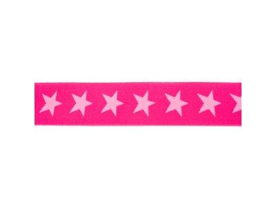 Gummiband ca. 40 mm - Sterne - pink/rosa