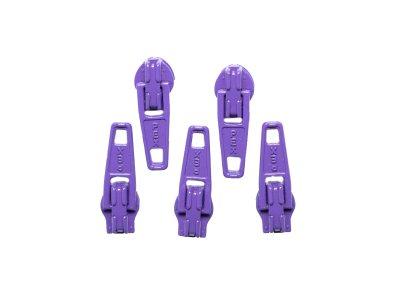 Slider / Zipper / Automatikschieber für Reißverschlüsse Größe 3 - Set 5 Stück lila