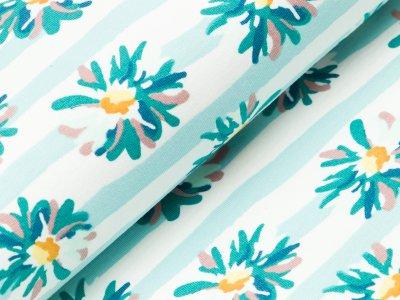Sweat French Terry - Blumen auf Streifen - helles türkisblau