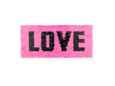 Applikation Rechteck mit Wendepailetten - Love - pink/bunt