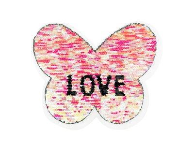 Applikation Schmetterling mit Wendepailetten - Love - rosa/silber
