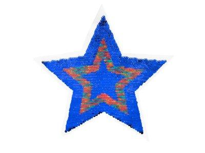 Applikation Stern mit Wendepailetten - blau/rot