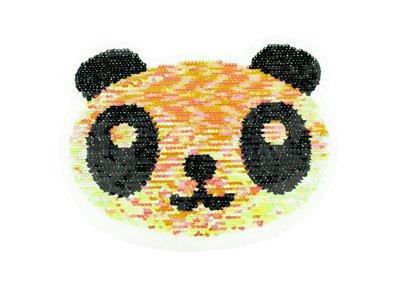 Applikation Panda mit Wendepailetten - rosa-gelb/silber
