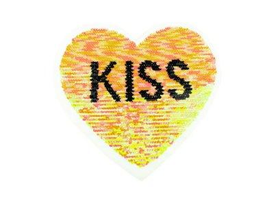 Applikation Herz mit Wendepailetten - Kiss - rosa/silber