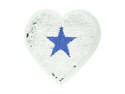 Applikation Herz mit Wendepailetten - Sterne - blau/silber