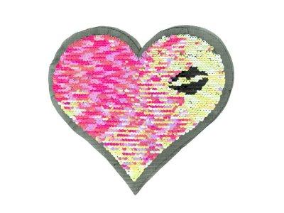 Applikation Herz mit Wendepailetten - Kussmund - rosa/silber
