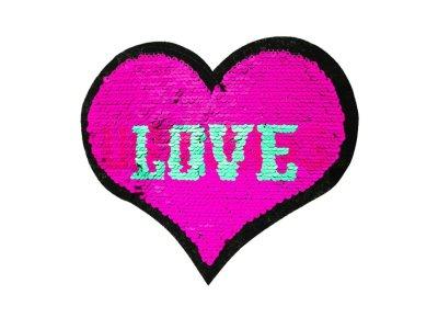 Applikation Herz mit Wendepailetten - Love/Unicorns - pink/mint