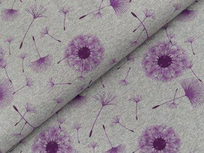 Jersey - Pusteblumen - meliert grau/lila