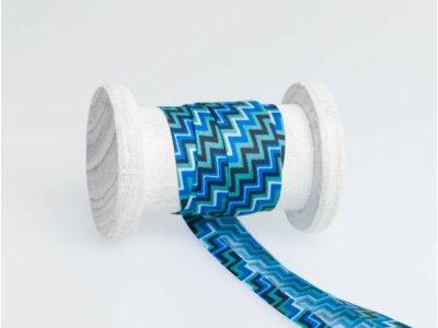 Schrägband Baumwolle 3m Stück, gefalzt 20mm  breit, Chevron blau