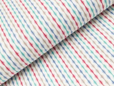 Sweat French Terry - Streifen - weiß