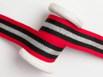 Hosenstreifen mit Glitzer  - Streifen - rot/silberfarben/schwarz