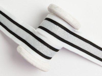 Hosenstreifen mit Glitzer - Streifen - weiß/silberfarben/schwarz