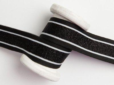Hosenstreifen mit Glitzer - Streifen -schwarz/weiß