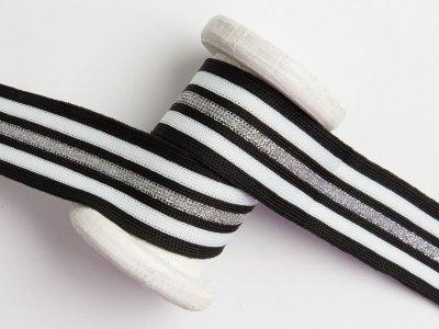 Hosenstreifen mit Glitzer - Streifen - schwarz/weiß/silberfarben