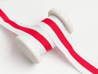Ripsband - Hosenstreifen - rot/weiß