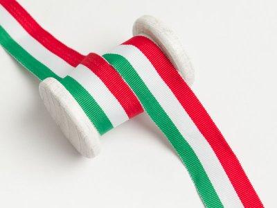 Ripsband - Hosenstreifen -grün/weiß/rot