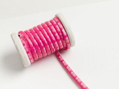 Runde Leder Kordel mit Druck Ø 7 mm -  Annanas - pink/weiß