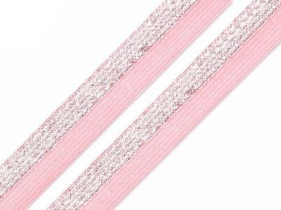 Falzgummi Gummiband weich mit Glitzer ca. 17 mm breit - rosa/silberfarben