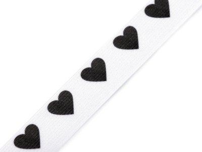 Gummiband 18mm - Herzen - weiß