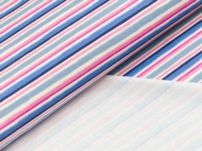 Leicht angerauter Sweat Hilco - Stripe 1 - blau/rosa