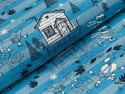 Sommersweat French Terry Hilco Have a nice day - Winterlandschaft auf Streifen - blau