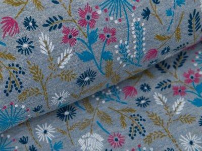 Alpenfleece - Blumenwiese - meliert graublau