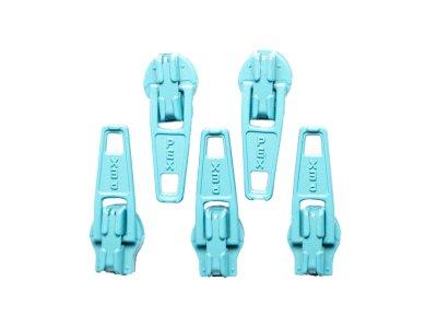 Slider / Zipper / Automatikschieber für Reißverschlüsse Größe 3 - Set 5 Stück hellblau