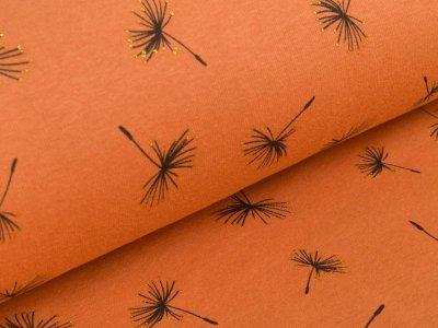 Alpenfleece mit Glitzer - Pusteblumen -  dunkles orange