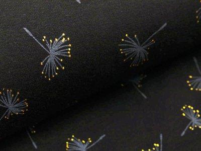 Alpenfleece mit Glitzer - Pusteblumen -  schwarz