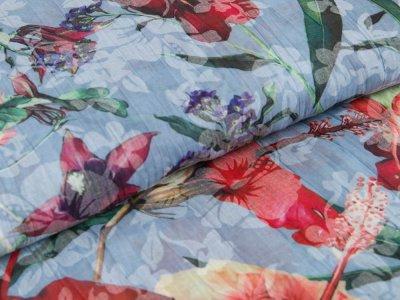 Gewebte Baumwolle - Blüten - blau