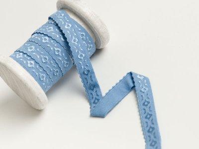 Elastisches Einfassband/Falzgummi  bestickt - blau