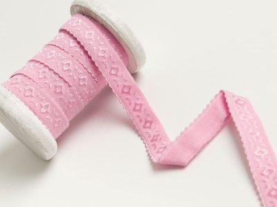Elastisches Einfassband/Falzgummi  bestickt - rosa