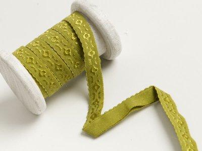 Elastisches Einfassband/Falzgummi  bestickt - grün
