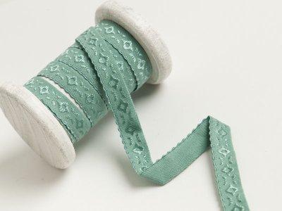 Elastisches Einfassband/Falzgummi  bestickt - altgrün