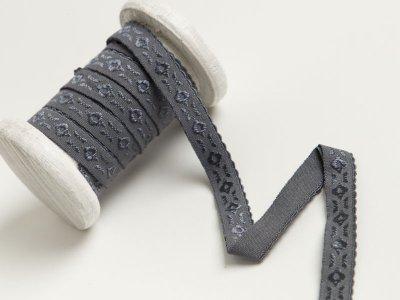 Elastisches Einfassband/Falzgummi  bestickt - dunkles grau